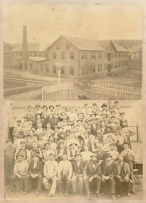 GROUP OF WORKERS, FACTORY BUILDING TWO ORIGINAL ca 1900's PHOTOS Albumen Prints