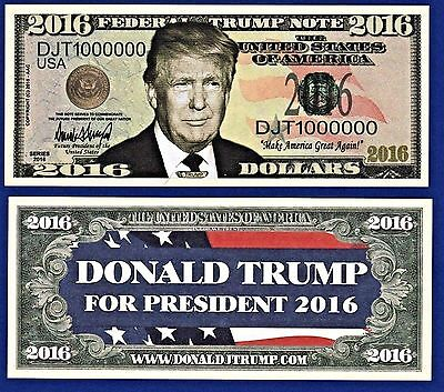 2- Donald Trump 2016 Presidential Dollar Bills FAKE- MONEY- NOVELTY- Q1