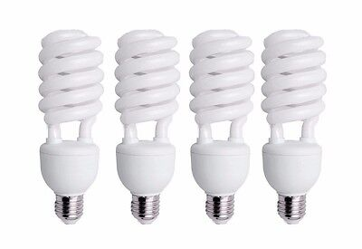4x Four 45W CFL Compact Fluorescent Photography Light Bulb 5500K Cool Daylight
