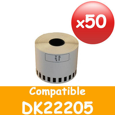 50 REFILL ROLLS DK22205 BROTHER COMPATIBLE CONTINUOUS LABEL 62mmx30.48m DK 22205