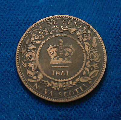 1861 Canada NOVA SCOTIA 1 ONE cent penny copper token Queen Victoria