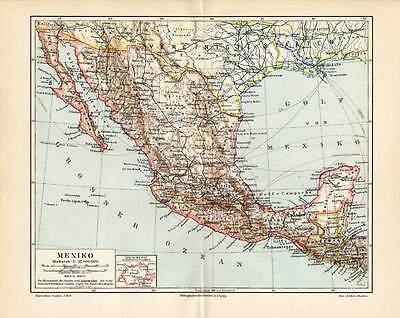 Antique Map-MEXICO-CENTRAL AMERICA-Meyers-1895
