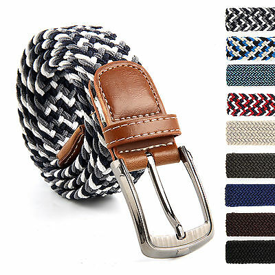 Men Women Elastic Stretch Woven Cotton Canvas Leather Pin Buckle Waist Belt