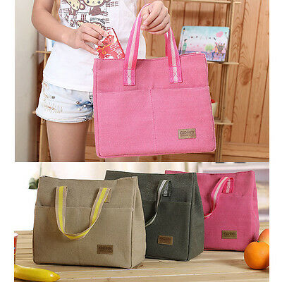 Thermal Cooler Canvas Lunch Storage Tote Portable Insulated Picnic Pouch Bag