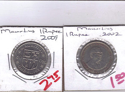 From Show Inv. - 2 - 1 RUPEE COINS from MAURITIUS (2002 & 2009)