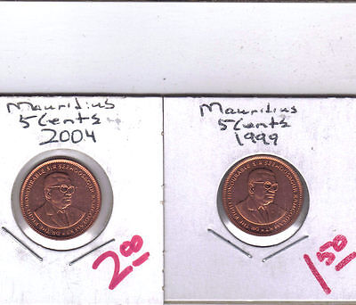 From Show Inv. - 2 NICE UNC. 5 CENT COINS from MAURITIUS (1999 & 2004)