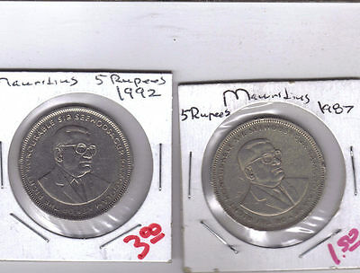 From Show Inv. - 2 NICE LARGE 5 RUPEE COINS from MAURITIUS (1987 & 1992)