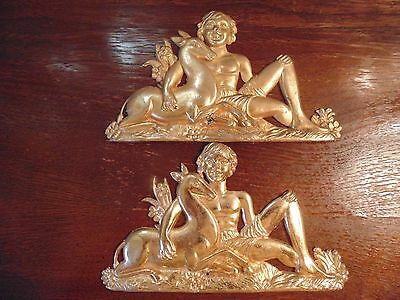 2 Pc Decoration Beautiful  Brass Mount Gilt Heavy Youth  With Deer Late 20Th