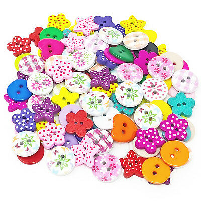 100 Mix Wooden & Acrylic Buttons For Craft Cardmaking Embellishments