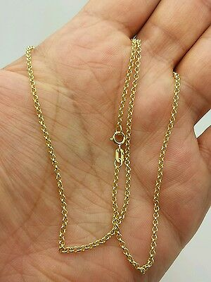 "14k Yellow Gold Round Rolo Link Necklace Pendant Chain 18"" 1.9mm"