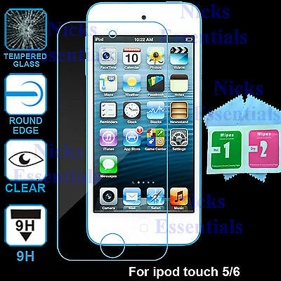 2 x Ultra Clear Tempered Glass Screen Protector For Apple iPod Touch 5th 6th Gen
