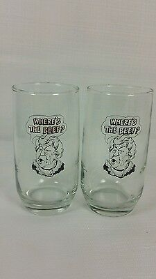 2 1984 wendys wheres is the Beef ?  Juice glass