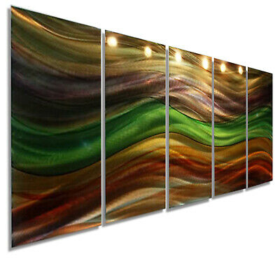Statements2000 3D Metal Wall Art Abstract Green Gold Brown Painting by Jon Allen