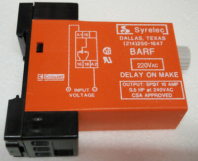 Crouzet Syrelec BARF 10M 220VAC .1 - 10 Minute Time Delay Timer relay D on Make