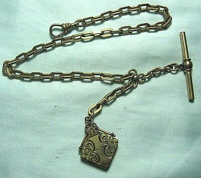 "Gold Plate Watch Chain & Locket Fob 25.9 grams 1 1/8"" long overall"