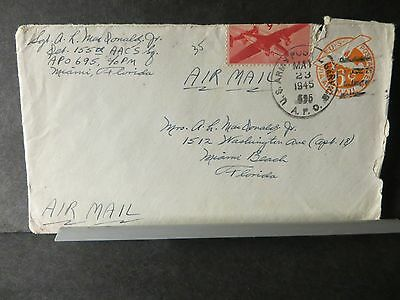APO 695 WALLER FIELD, TRINIDAD 1945 WWII Army Cover 155th AACS Sqdn