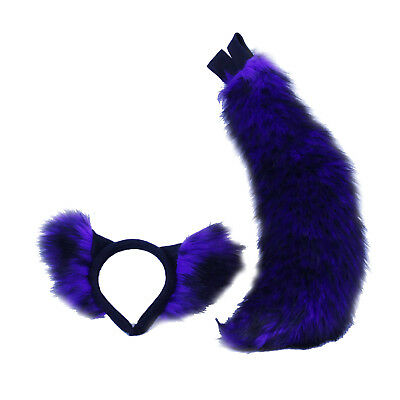 PAWSTAR Realistic Wolf Costume Ears & Tail Set - Cosplay Petplay Fox Purple 4207