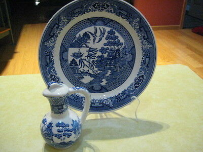 """BLUE WILLOW Unmarked Oil ? Server &  (1) 10"""" Blue Willow """"Royal"""" Dinner Plate"""