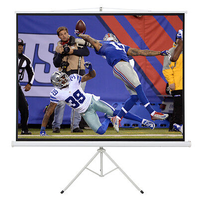 "100"" Portable Tripod Stand Projector 80x60 Projection Screen 4:3 Ratio White"