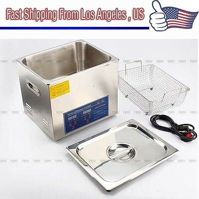 Stainless Steel 10 L Ultrasonic Cleaner Liter Industry Heated W/ Timer Heater US