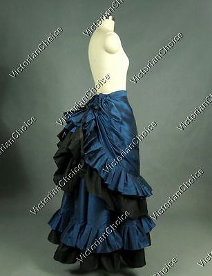 Victorian Edwardian Gothic Witch Bustle Skirt Steampunk Halloween Costume K034