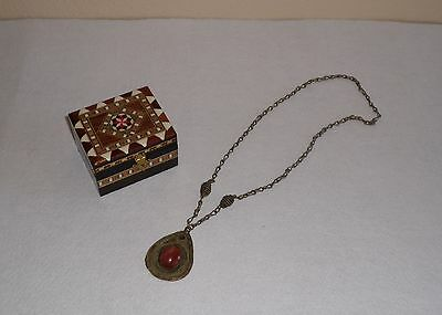 Antique~19Th Century~ Turkmenistan~Hand Made~Copper/silver~Carnelian Necklace