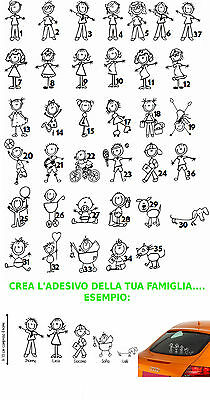 Sticker Stickers Adesivi Famiglia A Bordo Family On Board Personalizzati Auto...