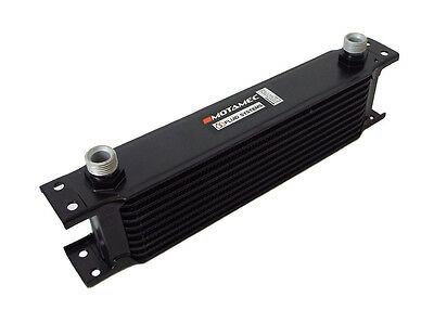 Motamec Oil Cooler 10 Row - 235mm Matrix - 1/2 BSP - Black Alloy