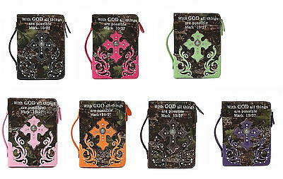 With God Camo Rhinestone Cross Bible Cover Pink Brown Black Green Orange Purple