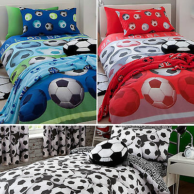 Kids FOOTBALL Bedding Range - Duvet Set or Rug or Cushion or Curtains