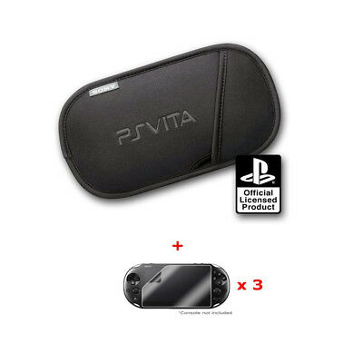 Sony Official PS Vita Carry Slip Case PSV Pouch + 3 Screen Protectors