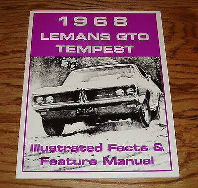 1968 Pontiac LeMans Tempest GTO Illustrated Facts Feature Manual Brochure 68