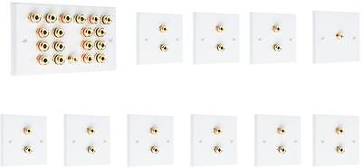 Complete 9.1 SOLDER-LESS White Speaker Audio Wall Face Plate kit Banana Plugs