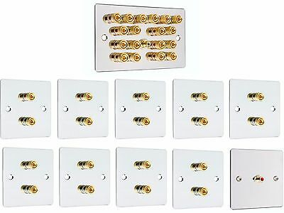 Complete Chrome 9.1 Surround Sound Speaker Wall Face Plate Kit Audio Banana Plug