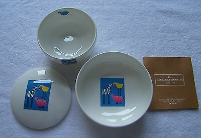 """Kids by Hankook"" 3 Piece Fine China Rice Bowls w/ Lid Animal Design Baby Dishes"