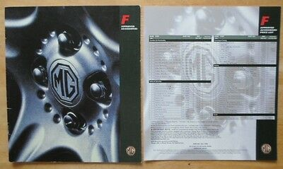 MG MGF Approved Accessories orig 1998 UK Mkt sales brochure + price list