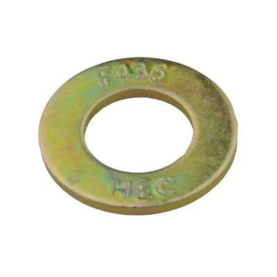 "Qty 100 Sampson High Tensile Washer 3/8"" Zinc Yellow Flat HT Grade 8 F436M ZY"