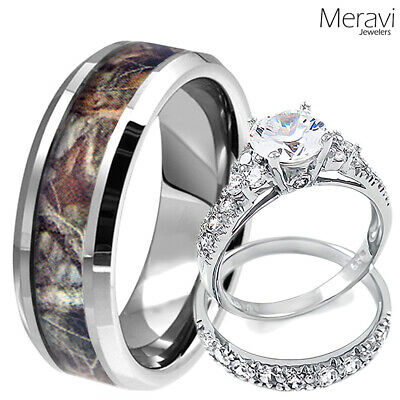 Womens 925 Sterling Silver CZ Ring & Mens Titanium Mossy Forest Oak Camo Band