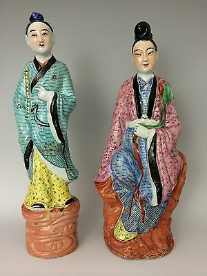 """Pair of Large Chinese Famille Rose Porcelain Immortals Man & Woman Signed 14"""""""