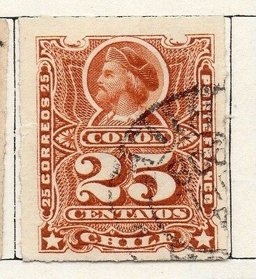 Chile 1881 Early Issue Fine Used 25c. 002500