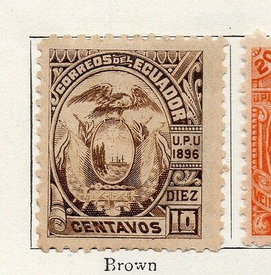 Ecuador 1896 Early Issue Fine Mint Hinged 10c. 002318