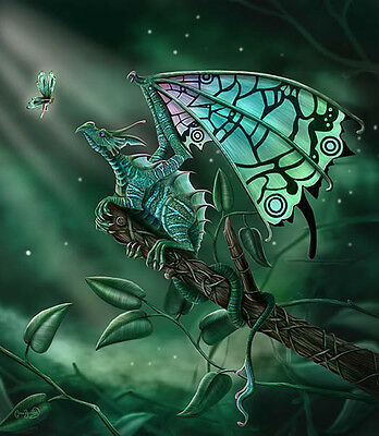NEW CLARE BARTRAM CELTIC SECRET DRAGON  3d PRINT PICTURE WITH FREE POSTAGE