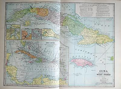 1899 Cuba & West Indies Original Large 2-page Dated Color Atlas Map