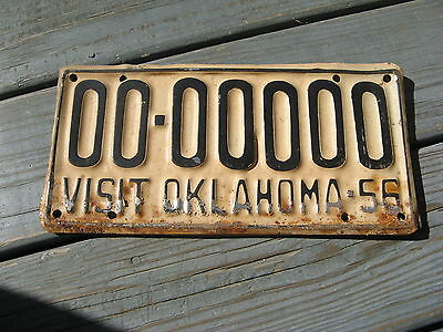 1956 56 Oklahoma Ok Sample License Plate Tag Buy It Now = Original Condition