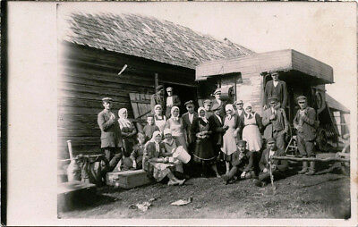 Large Group Of Peasants Farmers Pose By The Barn & Vintage Real Photo Postcard
