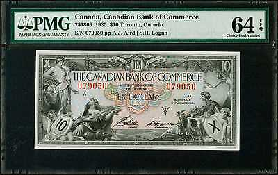 Canada Currency Canadian Bank of Commerce 10 Dollars 1935 PMG 64 EPQ