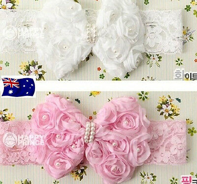 NEW Baby Pearl Bow Lace Head Band Infant Toddler Girl Christening Hair Band
