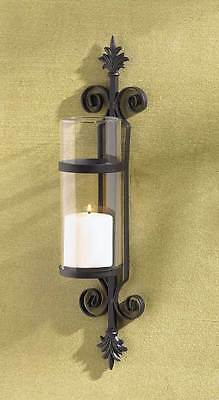 2 Iron Fleur De Lis Scroll Wall Candle Holder Hurricane Glass French Country