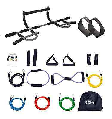 NEW Iron Gym Extreme Pull Up Push Up in Retail Box + Ab Straps + 14 Latex Bands