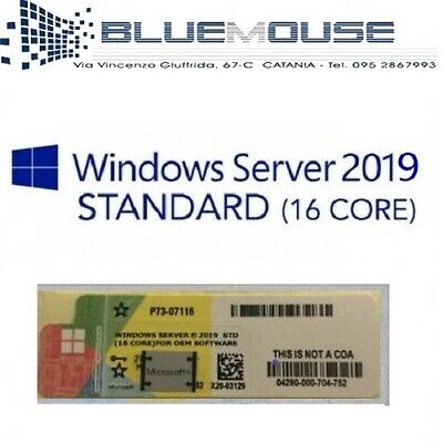 Microsoft Windows Server 2019 (16 Core) Standard Label Sticker Coa Fattura